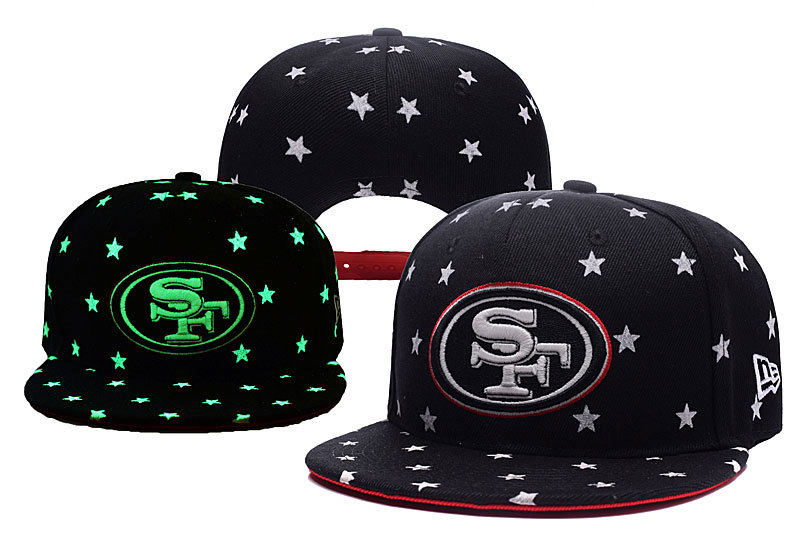 49ers Team Logo Black Adjustable Luminous Hat YD