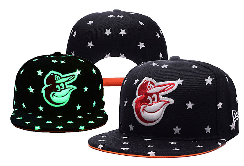 Orioles Team Logo Black Adjustable Luminous Hat YD