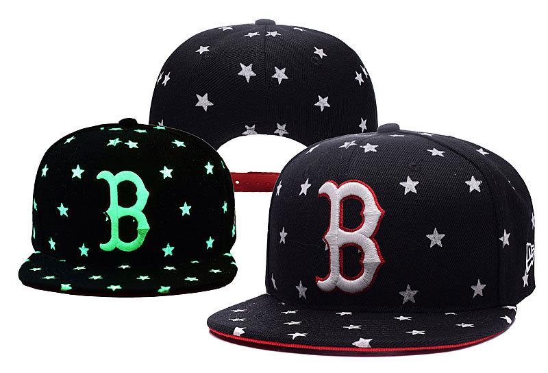 Red Sox Team Logo Black Adjustable Luminous Hat YD