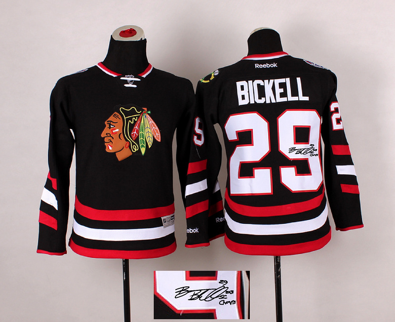 Blackhawks 29 Bickell Black Signature Edition Youth Jerseys