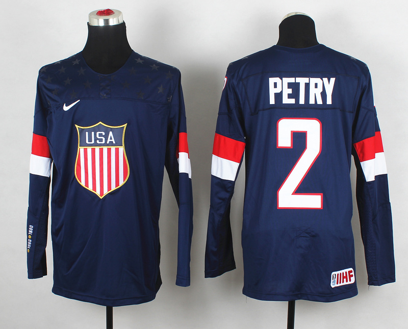 USA 2 Petry Blue 2014 Olympics Jerseys