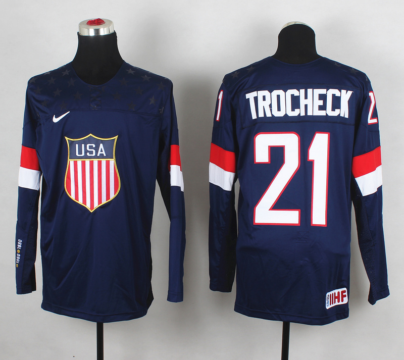 USA 21 Trocheck Blue 2014 Olympics Jerseys