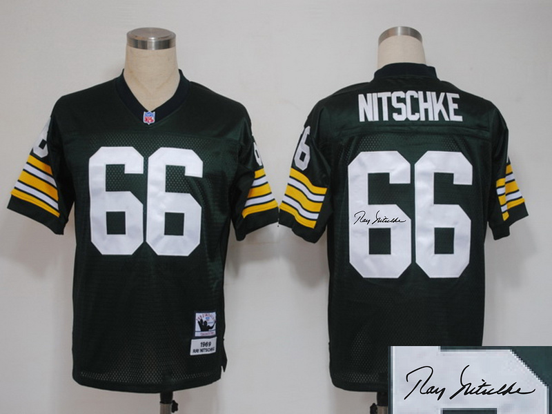 Packers 66 Nitschke Green Throwback Signature Edition Jerseys