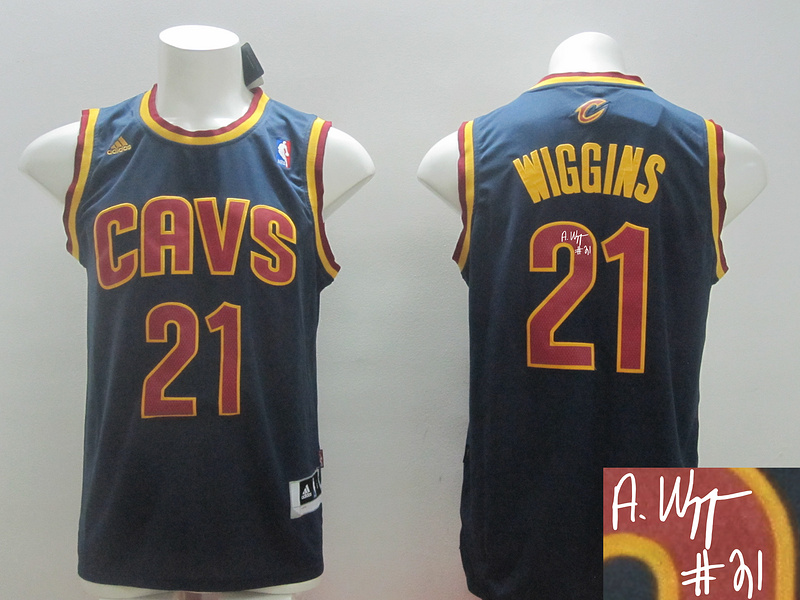 Cavaliers 21 Wiggins Blue New Revolution 30 Signature Edition Jerseys