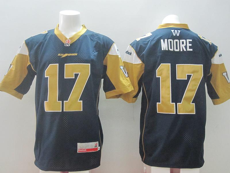 Reebok CFL Bombers 17 Moore Blue Jerseys