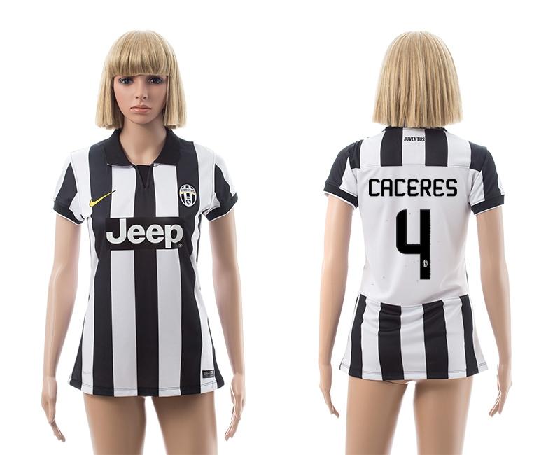 2014-15 Juventus 4 Caceres Home Women Jerseys