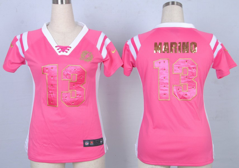 Nike Dolphins 13 Marino Pink Sequin Lettering Women Jerseys