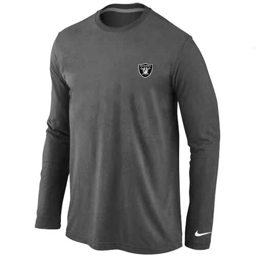 Oakland Raiders Logo Long Sleeve T-Shirt D.Grey