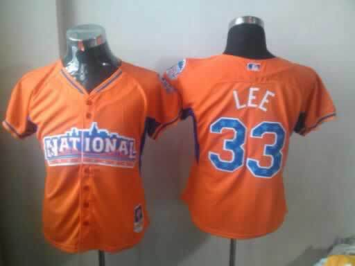 Phillies 33 Lee Orange 2013 All Star Women Jerseys