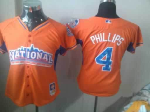 Reds 4 Phillips Orange 2013 All Star Women Jerseys