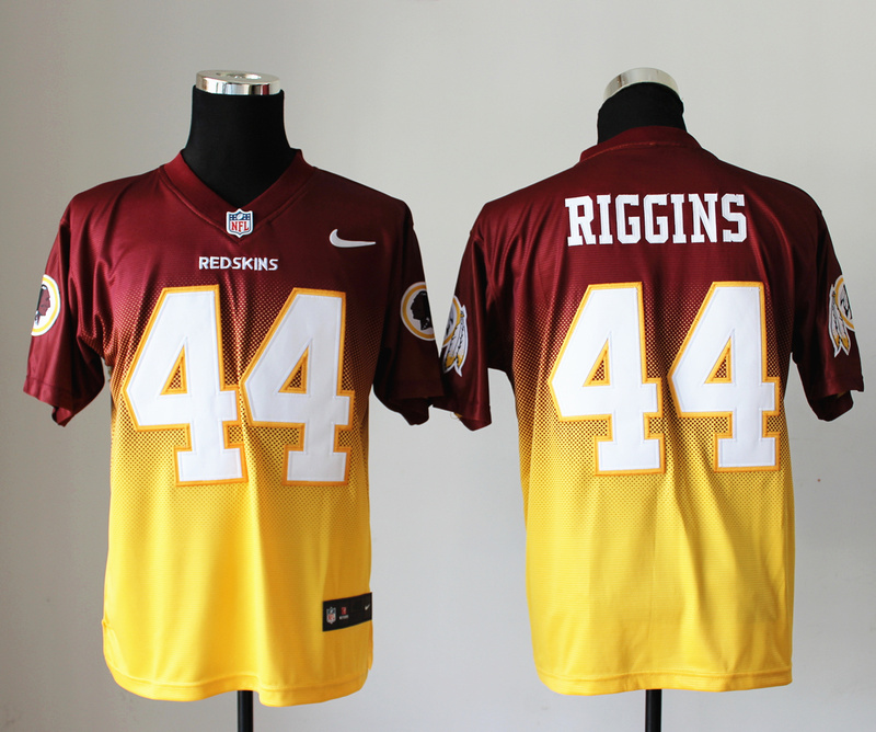 Nike Redskins 44 Riggins Red And Gold Drift II Elite Jerseys
