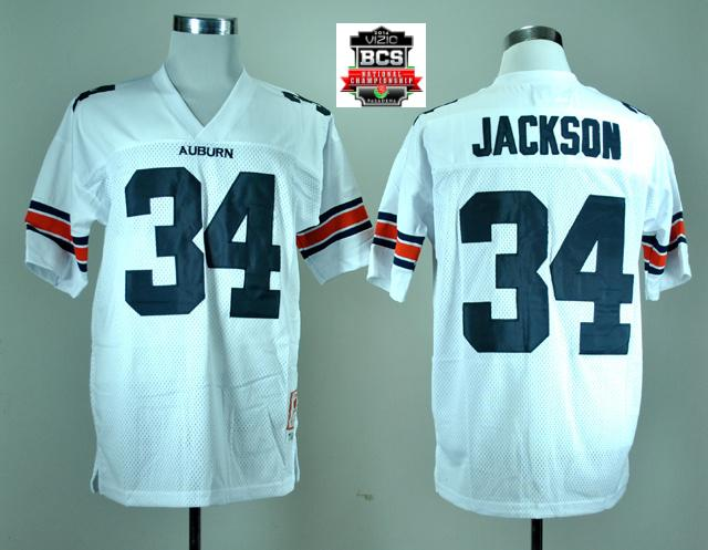 Auburn Tigers Bo Jackson 34 White College Football Throwback Jersey With 2014 BCS Patch
