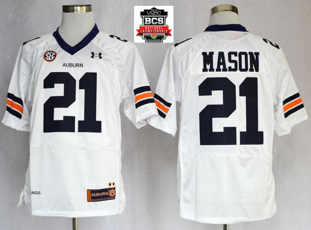 Auburn Tigers Tre Mason 21 NCAA Football Authentic White Jerseys With 2014 BCS Patch