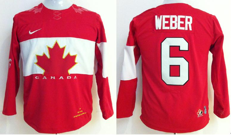 Canada 6 Weber Red 2014 Olympics Kids Jerseys