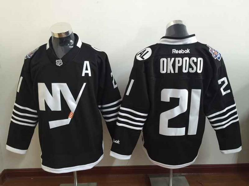 Islanders 21 Kyle Okposo Black Reebok Jersey