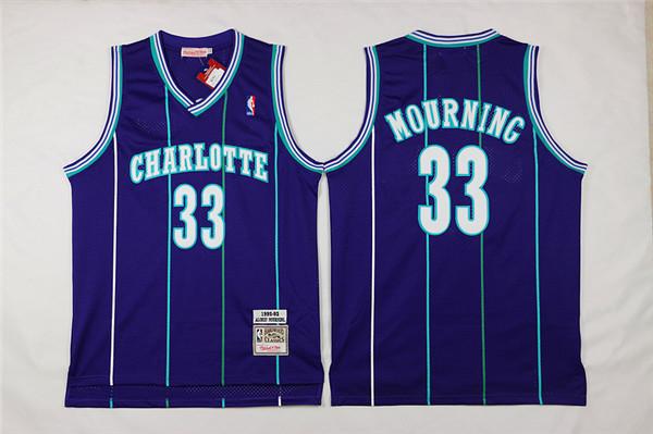 Hornets 33 Alonzo Mourning Purple Hardwood Classics Jersey