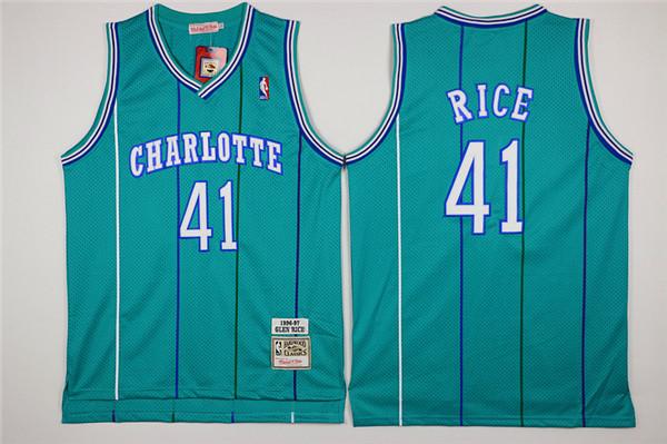 Hornets 41 Glen Rice Green Hardwood Classics Jersey