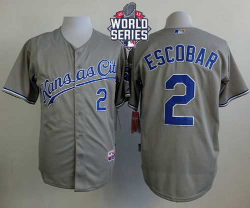 Royals 2 Alcides Escobar Grey With 2015 World Series Cool Base Jersey