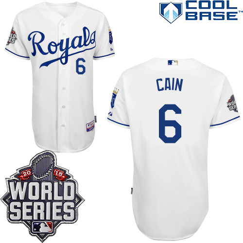 Royals 6 Lorenzo Cain White With 2015 World Series Cool Base Jersey