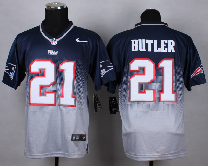 Nike Patriots 21 Malcolm Butler Blue And Grey Drift Fashion II Elite Jersey