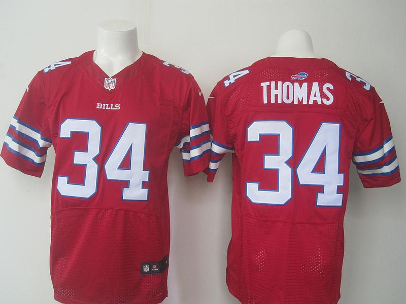 Nike Bills 34 Thurman Thomas Red Elite Jersey