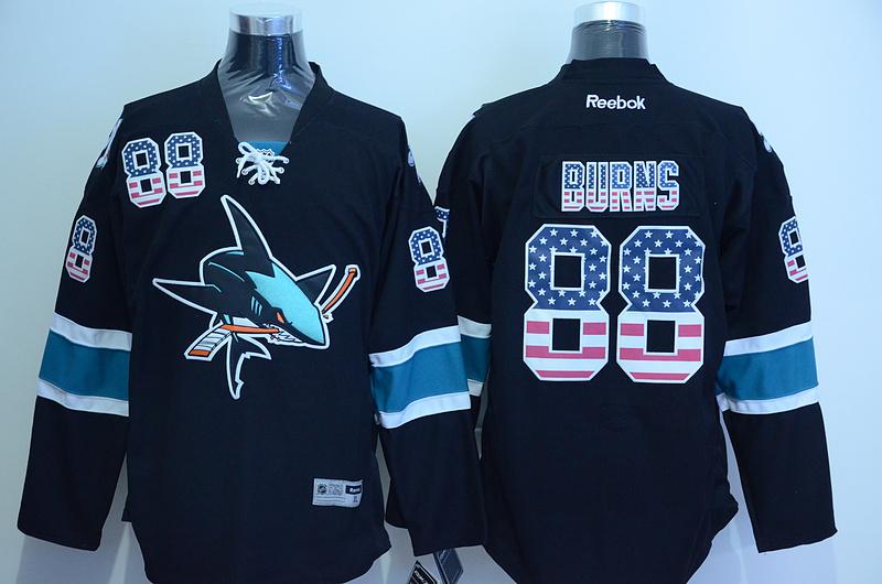 Sharks 88 Brent Burns Black US Flag Reebok Jersey