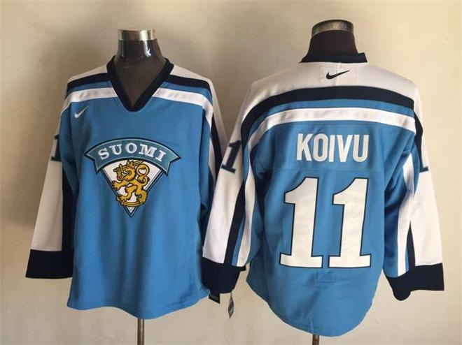Finland 11 Mikko Koivu Blue Nike Jersey