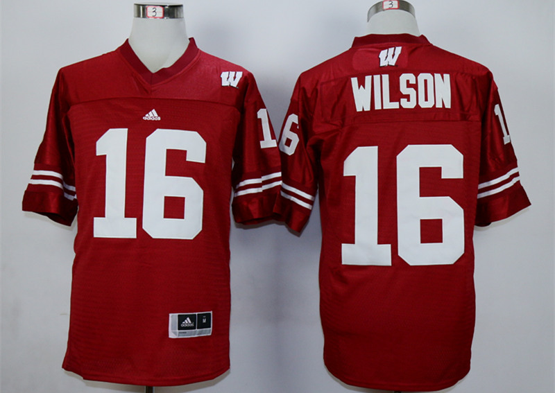 Wisconsin Badgers 16 Russell Wilson Red College Jersey