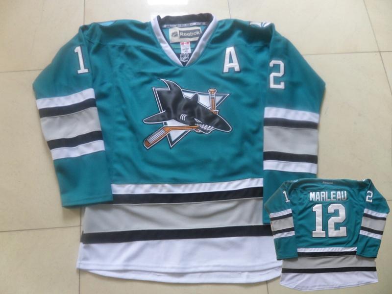 Sharks 12 Patrick Marleau Teal Reebok Jersey
