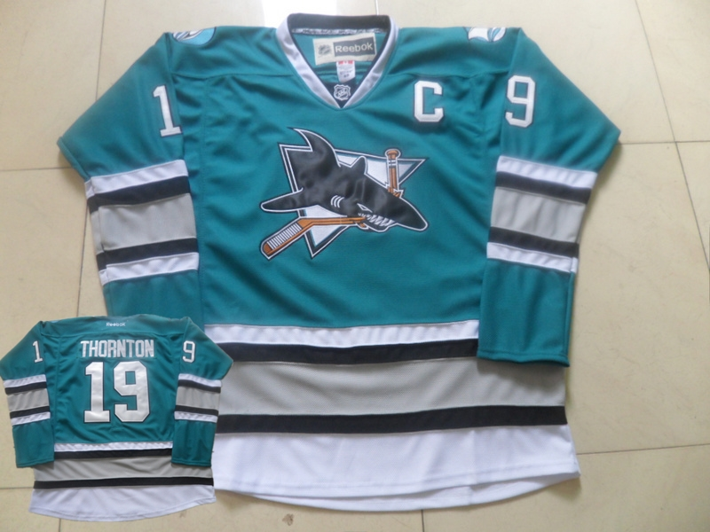 Sharks 19 Joe Thornton Teal Reebok Jersey