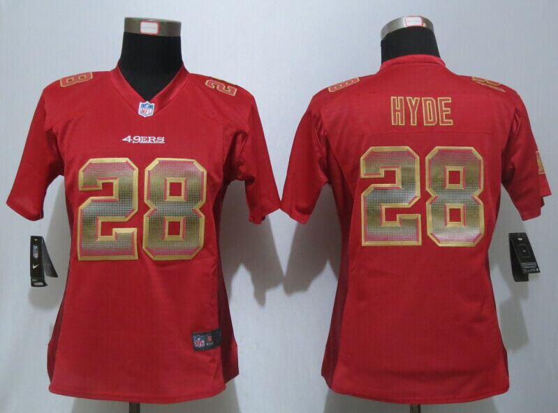 Nike 49ers 28 Carlos Hyde Red Pro Line Fashion Strobe Women Jersey