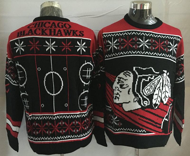Chicago Blackhawks Black Crew Neck Men's Ugly Sweater