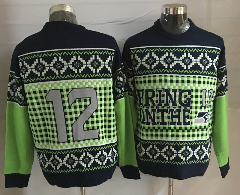 Seahawks 12th Fan Crew Neck Men's Ugly Sweater