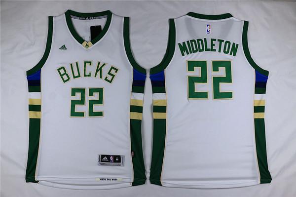 Bucks 22 Khris Middleton White Swingman Jersey