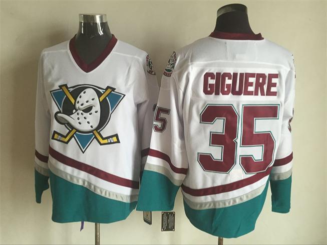 Ducks 35 Jean Sebastien Giguere White CCM Jersey
