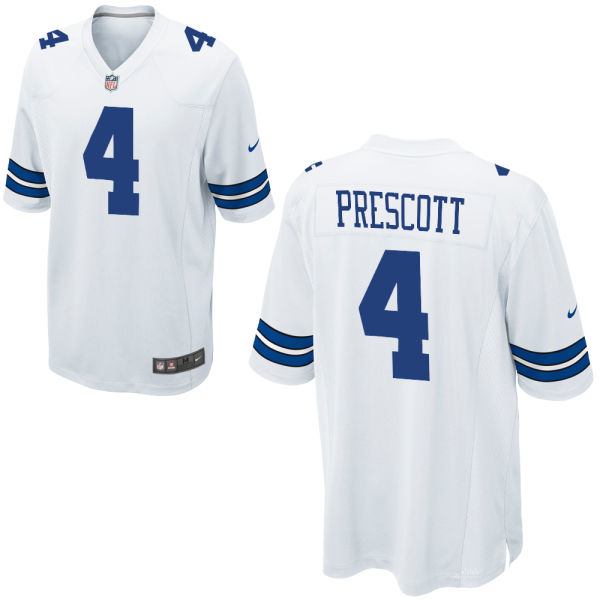 Nike Cowboys 4 Dak Prescott White Youth Game Jersey