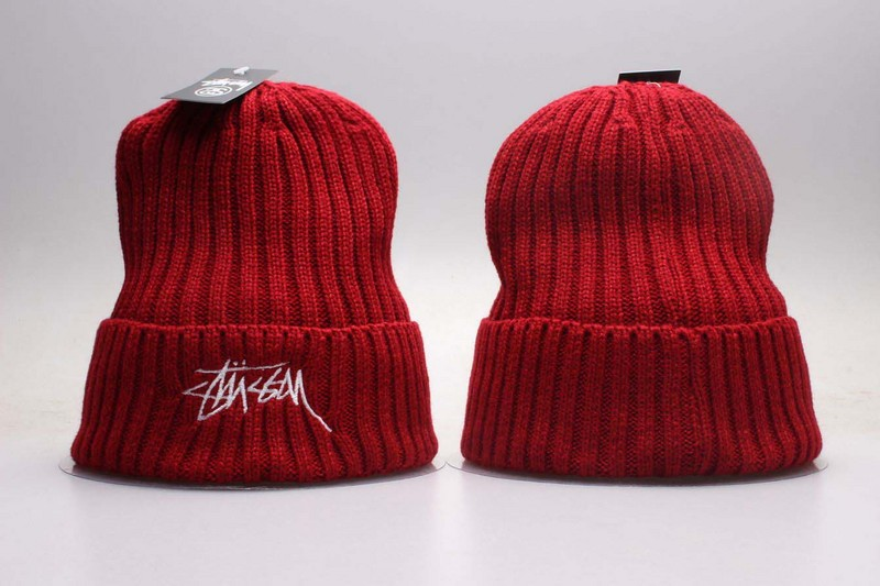 Stussy Team Logo Red Knit Hat YP