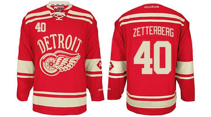 Red Wings 40 Henrik Zetterberg Red 2014 Winter Classic Reebok Jersey