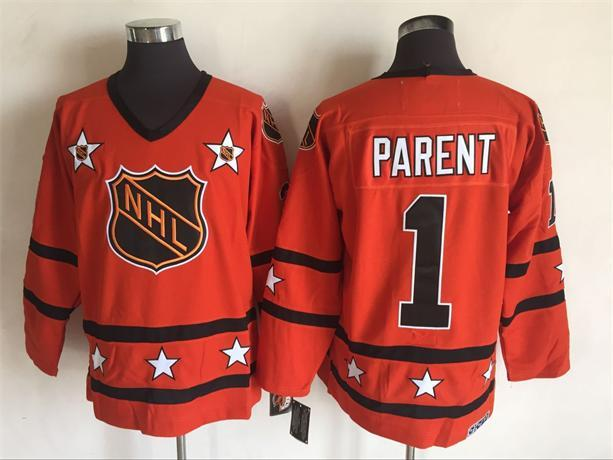 1980 All Star 1 Bernie Parent Orange CCM NHL Jersey