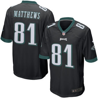 Nike Eagles 81 Jordan Matthews Black Youth Game Jersey