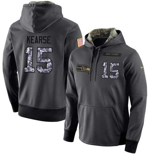 Nike Seahawks 15 Jermaine Kearse Anthracite Salute to Service Pullover Hoodie