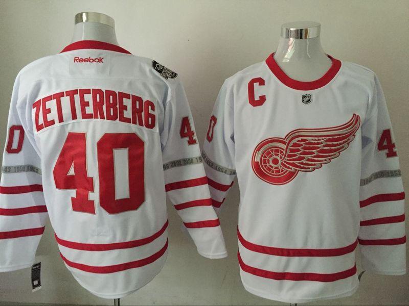 Red Wings 40 Henrik Zetterberg White 2017 Centennial Classic Reebok Jersey