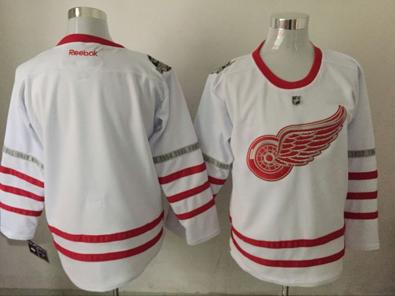 Red Wings Blank White 2017 Centennial Classic Reebok Jersey