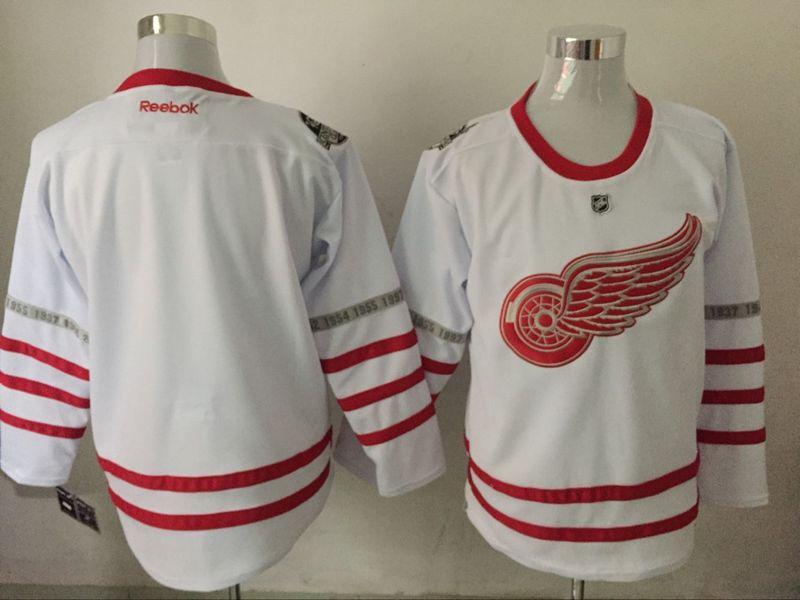 Red Wings Blank White 2017 Centennial Classic Reebok Jersey