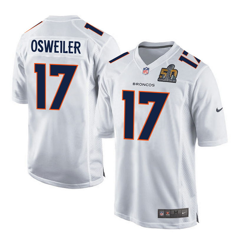 Nike Broncos 17 Brock Osweiler White Super Bowl 50 Bound Game Event Jersey