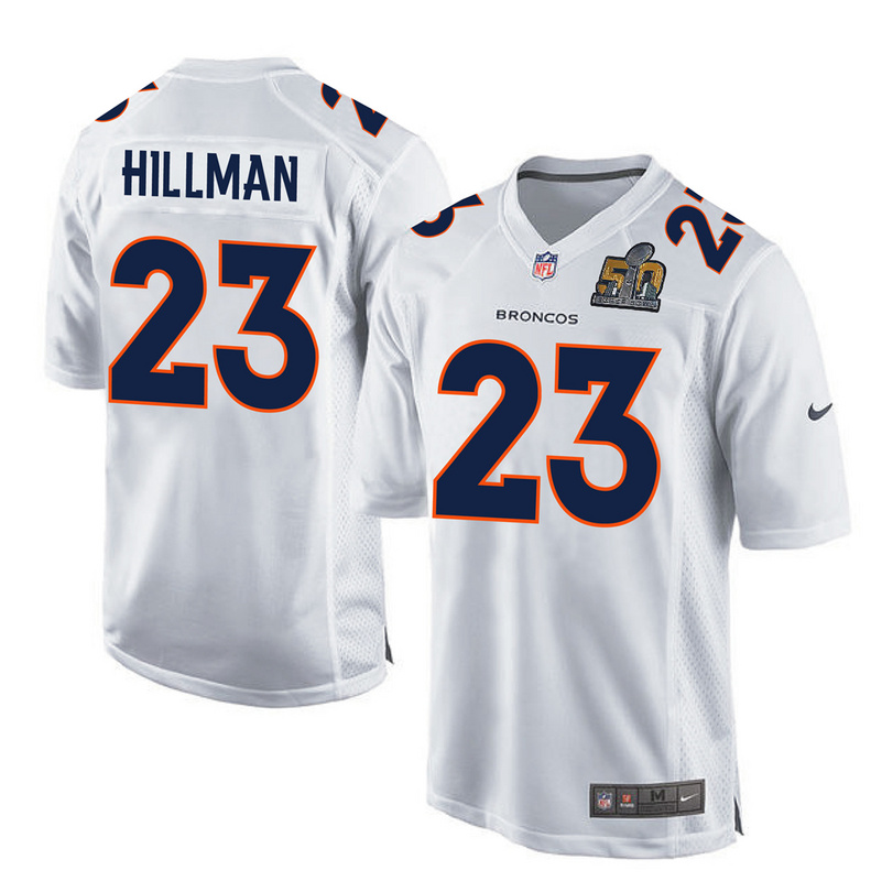 Nike Broncos 23 Ronnie Hillman White Super Bowl 50 Bound Game Event Jersey