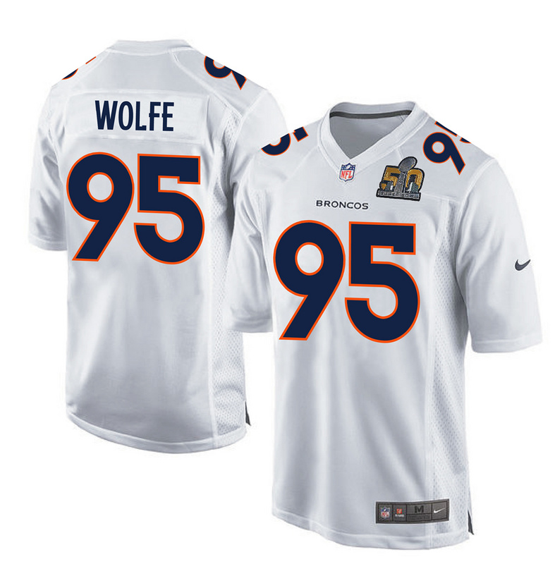 Nike Broncos 95 Derek Wolfe White Youth Super Bowl 50 Bound Game Event Jersey