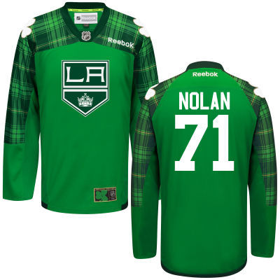 Kings 71 Jordan Nolan Green St. Patrick's Day Reebok Jersey