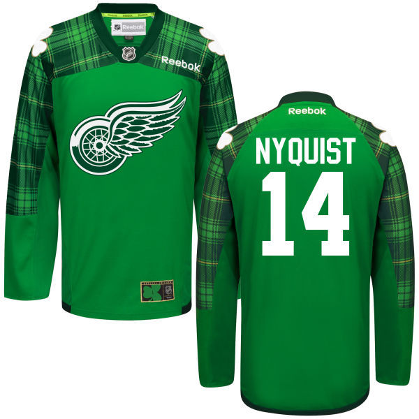 Red Wings 14 Gustav Nyquist Green St. Patrick's Day Reebok Jersey