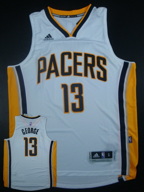 Pacers 13 Paul George White Replica Jersey